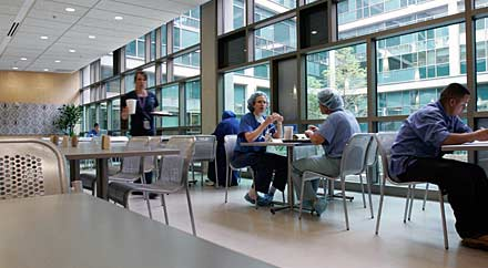 image: A photograph of the Dell Children's Medial Center of Central Texas cafeteria.When they are hospitalized, youthful appetites often vanish altogether. The challenge then becomes how to provide whatever