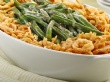 A photograph of a green bean casserole.