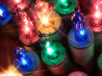 image: A photograph of Christmas lights.