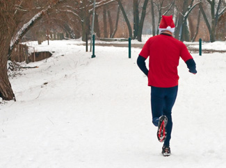 image: A photograph of a person running in the snow.